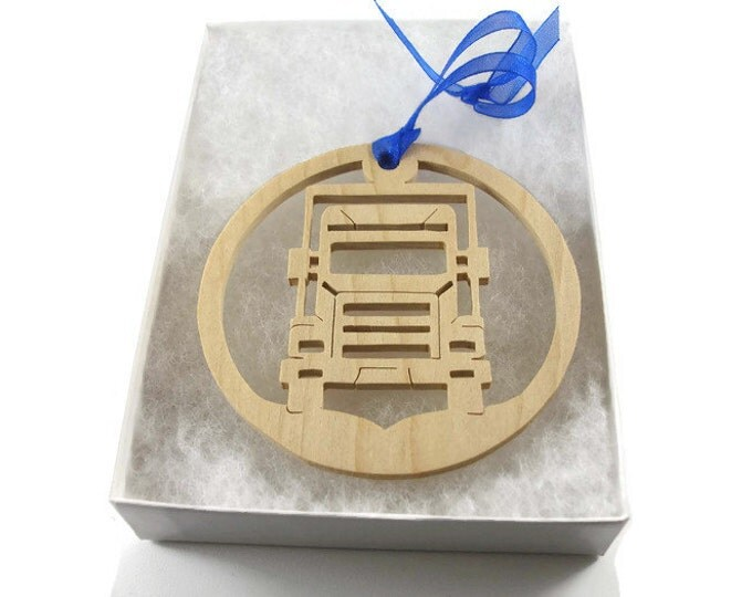 Semi Truck Christmas Ornament Handmade From Maple Wood By KevsKrafts,