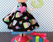 Third Birthday Arianna Clothespin Doll Table Centerpiece Cake Topper
