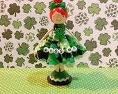 St Patty's Girl Dark Redhead Miniature Wooden Clothespin Doll