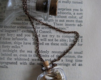 Glass Bottle Necklace - Macabre Apothecary Design - 'From The Dust Returned' OOAK