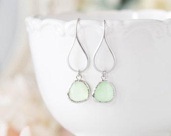 Mint Earrings, Silver Mint Green Teardrop Glass Dangle Earrings, Mint Wedding Jewelry, Modern Earrings, Valentines day gift for Her