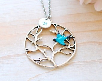 Tree of Life Necklace Personalized Initial Silver Tree Pendant Necklace Blue Patina Verdigris Swallow Bird Long Necklace mothers day gift