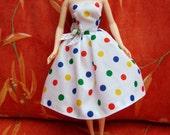 "Handmade 11.5"" Fashion Doll Clothes. Gathered skirt strapless dress."