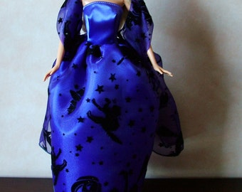 "Handmade 11.5"" Fashion Doll Clothes. Halloween ball gown and fabric stole to fit 11.5"" dolls."