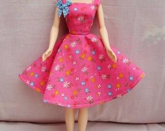 "Handmade 11.5"" Fashion Doll Clothes. Full circle skirt strawberry pink dress."