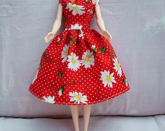 "Handmade 11.5"" Fashion Doll Clothes. Gathered skirt daisy print dress."