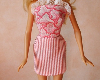 "Handmade 11.5"" Fashion Doll Clothes. Pink mini dress."