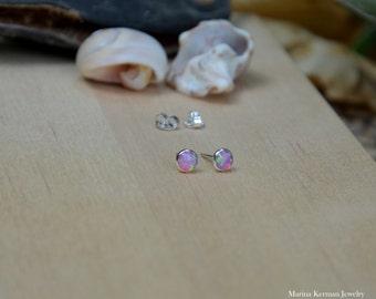 Pink Opal Stud Earrings, 5 mm Opal Post Earrings in Sterling Silver, Handmade