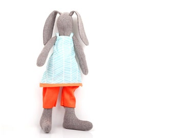 Easter stuffed bunny rag doll , Spring Cuddling doll modern brown woven rabbit doll in Light Blue geometric dress  & Orange corduroy under