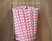 Coral Paper Straws, Coral Chevron Straws, 25 Paper Straws, Coral Wedding, Baby Shower, Cake Pop Sticks, Made in USA, Drinking Straws, Party