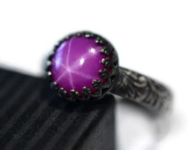 Star Ruby Ring, Oxidized Silver Renaissance Style Ring, Engraved Engagement Ring, Personalized Jewelry, Synthetic Ruby, Purple Gemstone