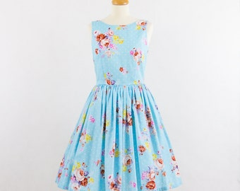 Floral bridesmaid dress, cotton bridesmaid dress, floral dress, vintage inspired dress