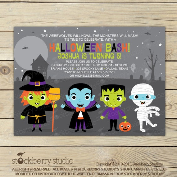 halloween birthday invitation costume party invitation kids