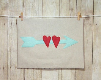 Arrow Pillow / Lots of colors / lumbar pillow / 12 x 16 / Arrow with hearts pillow / Valentine Pillow