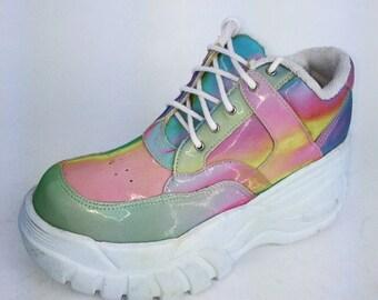 90's Hologram Iridescent Rainbow Platform Wedge Sneakers // 6 - 6.5