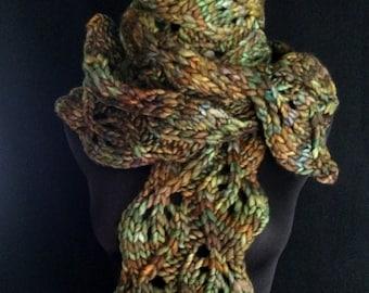 Hand Knitting PDF Pattern - Carolina Moonseed - Twined Leaves - Super Bulky Scarf