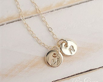 Tiny Initial Necklace, 14k Gold Filled 2 Disc Personalized Custom Hand Stamped Mother Necklace Choose font/initial Handmade Delicate