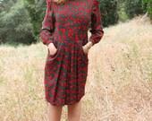 TULIP  80s Vintage Secretary Dress Colorful Floral Print Long Sleeved Midi Length