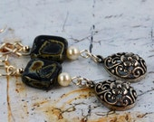 Boho Chic Black Square Pearl Sterling Silver Charm Earrings