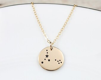 Gold Pisces Necklace | Pisces Constellation Necklace | Pisces Jewelry | Pisces Zodiac Sign | Pisces Birthday Gift | Gift for Pisces