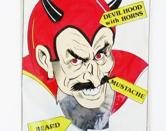 NOS Vintage Topstone Devil Disguise Costume Kit-Hood w Horns/Beard/Mustache