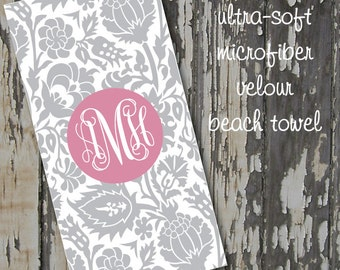 monogrammed DAMASK beach towel - huge 30x60 ultra-soft microfiber velour