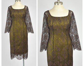 Brown Lace Dress 90s Lace Party Dress Olive Green Silk Dress 1990s Lace Cocktail Dress Bodycon Dress 1950s Style Illusion Lace Wiggle Dress
