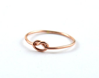 Rose gold knot ring - simple knot ring - pink gold ring - love knot gold ring - 14k rose gold filled - gift for her under 25