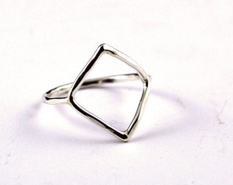 Diamond shape ring, skinny silver ring, geometric ring, square ring, fine silver ring