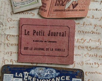 Gorgeous batch petite antique French advertising calendars & notebook dated 1913 and 1932  BELLE BROCANTE  Manoir attic clearance