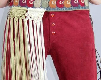 70's EMBROIDERED Macrame FRINGE Belt // Bohemian Gypsy // Vintage by TatiTati Style on Etsy
