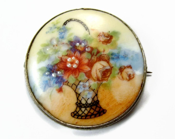 Antique Painted Porcelain Brooch, Flower Basket, Flower Brooch, Vintage Jewelry, Hand Painted Flower Pin