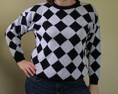 Vintage 80s Sweater - Black and White Diamond - Ugly Sweater - Fun and Funky - Argyle - Harlequin