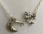 Owl on Branch and 1/4 Moon Silver Necklace