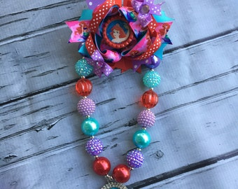 Ariel Little Mermaid Bubblegum Necklace, Ariel Hair Bow, Girls Chunky Necklace and Hair Bow ,Bubblegum Chunky Necklace, Birthday Necklac