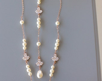 BACKDROP BRIDAL NECKLACE Rose Gold Chain with Fleur De Lis Rhinestone Cubic Zirconia and Swarovski Pearls in White or Cream Wedding
