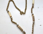 1960s Chain Necklace with Metal Tube Beads