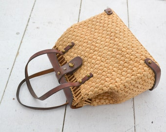1960s Etienne Aigner Leather and Straw Handbag