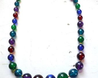 1980s Multi-Color Lucite Bead Necklace