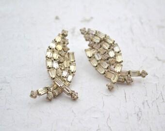 1950s Rhinestone Clip Earrings