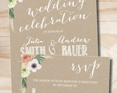Watercolor Floral Kraft paper Wedding Invitation Response Card - Design only / Digital Files