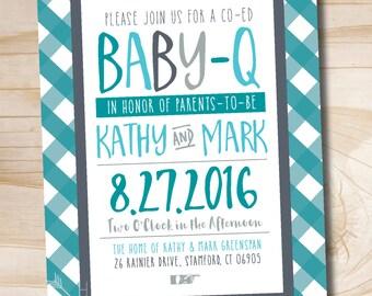 Baby Q Baby-Q BBQ Baby Shower Invitation Couples baby shower invitation - Printable Digital file or Printed Invitations