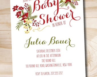 Christmas Floral Baby Shower Bridal Shower Couples Shower Invitation - Printable Digital file or Printed Invitations