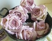 6 Large Lavender Parchment Paper Roses Wedding Floral Decorations
