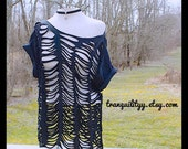 T Shirt , Black Reconstructed Up Cycle ,Shredded ,Gothic,  cover-up, Sm Med By: Tranquilityy
