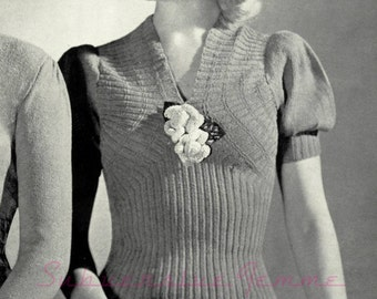 Violets are Blue ribbed sweater with puff sleeves c.1940 - vintage knitting pattern PDF (479)
