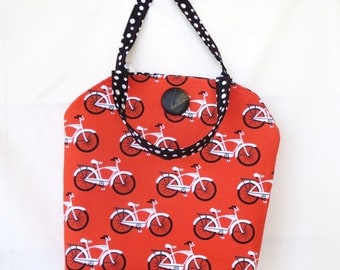 Lunch Tote, Tote, Tote bag, Handmade Tote Bag, Bicycle Lunch Bag