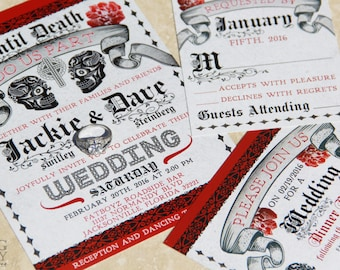 Day of the Dead Wedding Invitations. Mexican Wedding. Sugar Skulls wedding invitation.