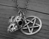 Silver Bird Skull Necklace Pentagram Necklace Pentacle Gothic Charm Necklace Goth Occult Witchcraft Witch Craft Satanic Wiccan Pagan Wicca