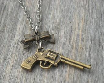 Brass Western Pistol Gun and Bow Necklace Revolver Shotgun Handgun Southern Country Girl Cowgirl Brass Gun Necklace Gun Jewelry